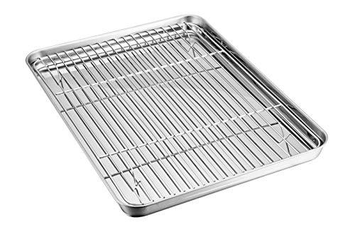 TEAMFAR Backblech mit Auskühlgitter, Edelstahl Backform Kuchenblech und Abkühlgitter zum Backen Kühlung Servieren, gesund & ungiftig, leicht zu reinigen und...