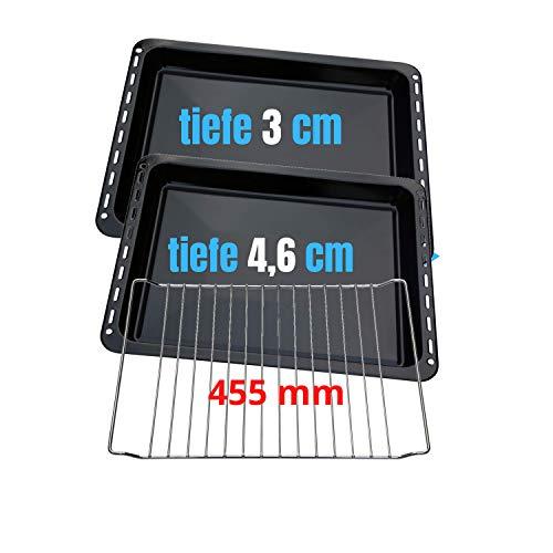 455x370x 31 und 46mm 3er SET mit 2 Backbleche 2 tiefe emailliert und 1 Backrost 455x370x25 passend für BSH-Gruppe 662999 – 00662999, 434038 kompatibel Bosch...