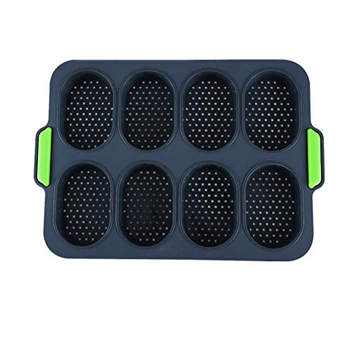 Kelisidunaec Mini Baguette Backform, Backblech Antihaft-Lochblech Silikon Backform Silikonform Brötchen 8 Einheiten Brot Crisping Tray