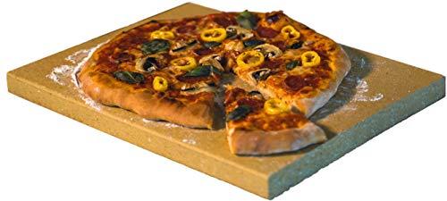 Pizzastein rechteckig für Backofen & Grill | 40 x 30 x 3cm - Aus massiver Schamotte - Lebensmittelecht | Verwendbar als Brotbackstein & Flammkuchenplatte |...