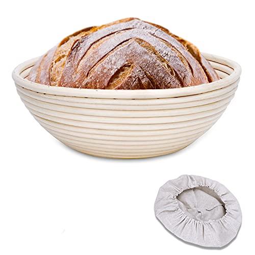 Clheatky Gärkörbchen Rund, ø 25 cm, Höhe 8.5 cm Gärkorb Set Aus Natürlichem Peddigrohr Proofing Basket Brotkörbchen Brotform für Brot Backen Fasst 1kg...