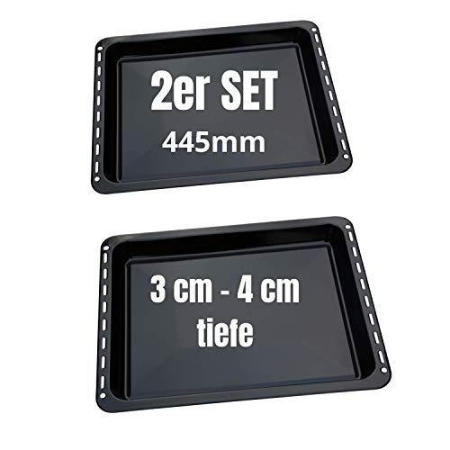 UD UNIQ DEALZ 445 x 375 x 30 mm und 40mm 2er Set mit 2 Backbleche 2 Tiefe emailliert passend für Bauknecht Whirlpool Ignis IKEA auch Neckermann Lloyds Quelle...