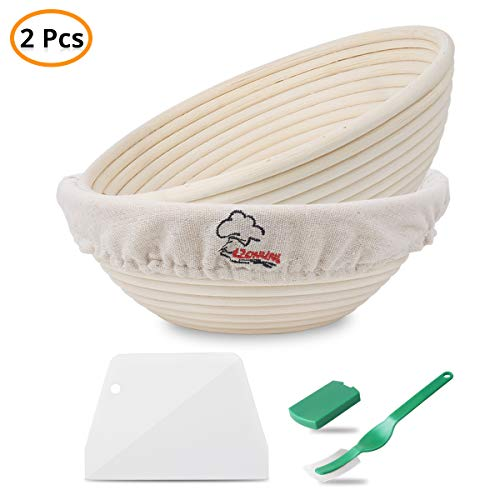 2 Packungen 9 Zoll Brot Gärkörbchen Proofing Basket, Peddigrohr, beige , Handgemachte Rattanschale, Bread Making Starter Jar Kit,Teigschaber Brotform Cloth...
