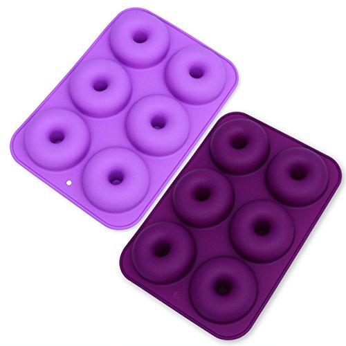 Donut-Form aus Silikon, mit 6 Mulden, antihaftbeschichtet, für Kuchen, Kekse, Bagels, Muffins, 2 Stück (dunkelviolett und hellviolett)