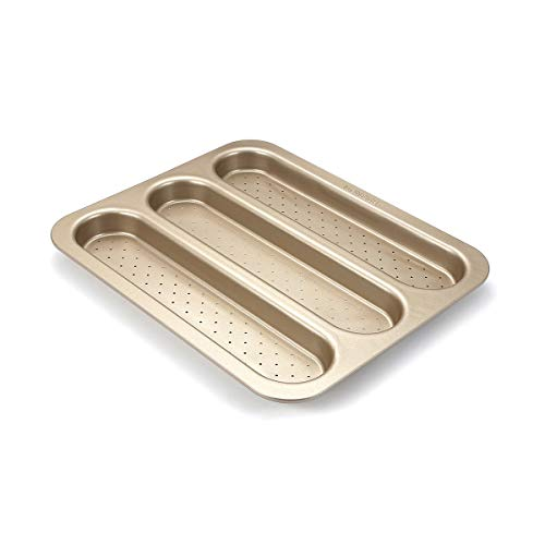 Backform Baguette , Französische Brotform, baguette blech perforiert, 3 Schlitze, antihaftbeschichtet, 38,1 cm x 30,5 cm