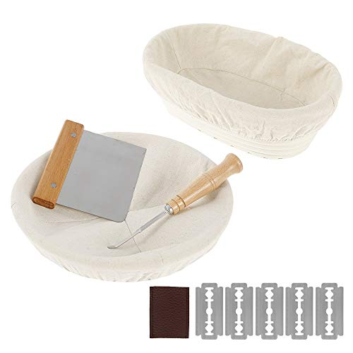 Gärkörbchen Rund & Oval 2er Set Gärkorb Rattan Bambuskorb für Brot und Brotteig Brotkorb mit Leineneinsatz Teigschaber und Brotmesser