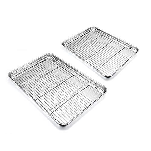 HaWare Backblech mit Kuchengitter, Edelstahl Ofenblech/Abkühlgitter Rechteckige für Backen/Abkühlen, 4er Set (2 Kuchenblech+ 2 Grillrost)- Gesund &...