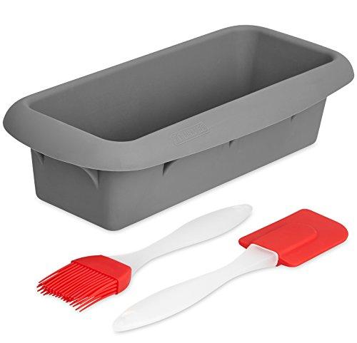 GOURMEO Silikon-Backform grau – für Kuchen und Brote – mit Anthihaftbeschichtung, Länge: 22cm – inklusive Pinsel und Schaber…