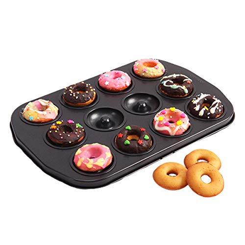 CANDeal Donut Backform Kuchenform für Donut, Muffins, Brownies, Kuchen, Antihaft 12 Vertiefungen Ø 5cm