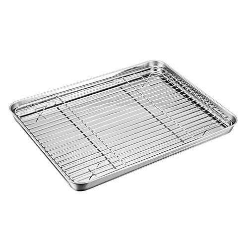 TEAMFAR Backblech mit Abkühlgitter, Edelstahl Backform Ofenschale und kuchengitter Auskühlgitter, 32x25x2,5cm, gesund & ungiftig, leicht zu reinigen und...
