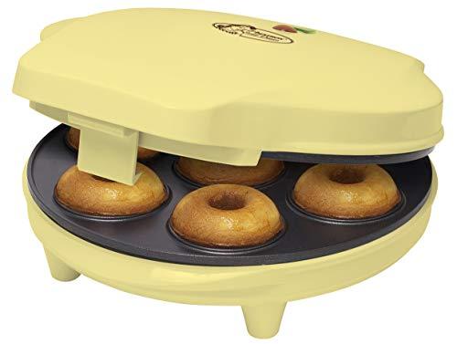 Bestron Donut Maker im Retro Design, Sweet Dreams, Antihaftbeschichtung, 700 Watt, Gelb