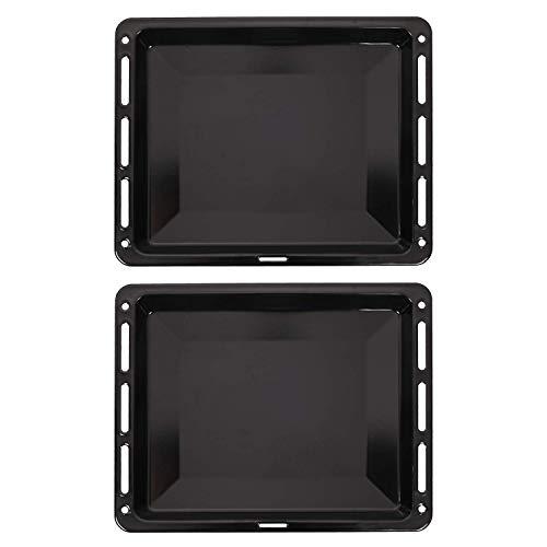 ICQN 465 x 375 x 30 mm Backblech Set | Passend für Bosch Siemens Neff Constructa | 2er Backbleche für Backofen | Emailliert | Fettpfanne | Kratzfest | 46,5 x...