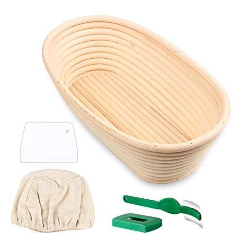 Semlos Brotkorb, Handgefertigter Rattan-Korb, Bambus-Teigkörbe mit Leinen, Brot Lahm, Teigschaber für Banneton-Brotbacken (Oval)