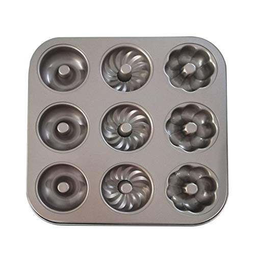 Nicoone Donut Form 9-Cavity Donut Pan Nicht-Stick Carbon Stahl Donut Form Küche Backformen für Kuchen Keks Backen Jeder Hohlraum Größe Ø7 cm