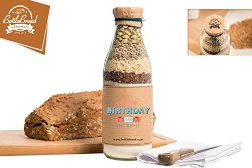Brotbackmischung'Happy Birthday Retro' Backmischung im Glas Flasche Geschenk Geschenkidee Geburtstagsgeschenk Geburtstag