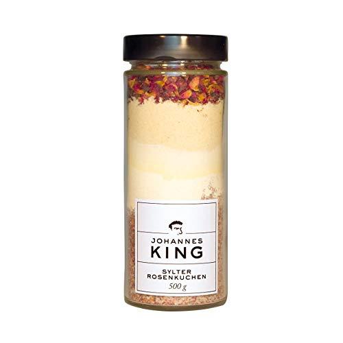 Kings Sylter Rosenkuchen, Gourmetbackmischung im Glas, Backmischung im Glas, aus Gourmet Backzutaten, die Flasche als ideales Geschenk