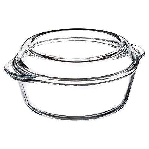 KADAX Auflaufform aus hitzebeständigem Glas, feuerfestes Gefäß, Glasbräter mit Deckel und Griffe, Geschirr zum Braten, Backofen, Elektroherd, für Lasagne,...