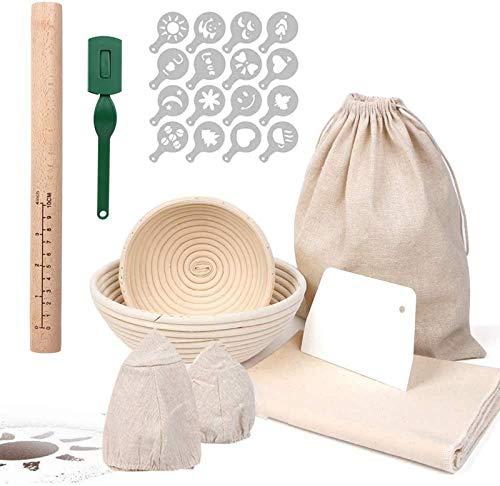 RAIN QUEEN Gärkorb Gärkörbchen Rund Brot Proofing Baskets Körbe Runde Rattan Brot Fermentation Korb Bäckermesser Backen Kit (Set Rund(15+22cm))