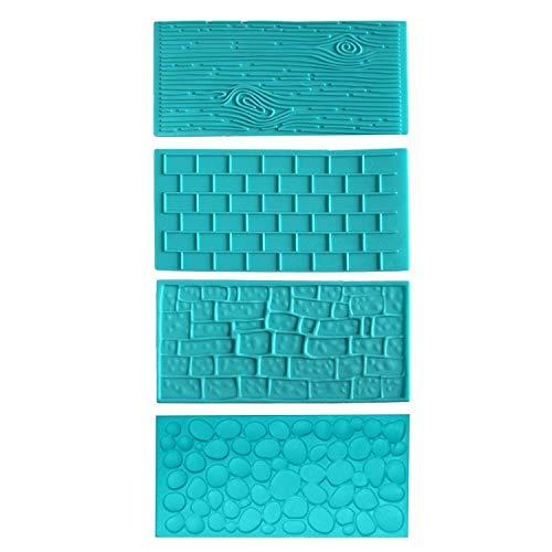 4tlg. Geprägtes Kunststoff Glasurformen Set von Kurtzy - Ziegel, Holz, Kopfstein, Kieselstein Designs für Schokolade, Zuckerguss - Einfach zu reinigen -...