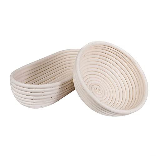 SIDCO Gärkorb Gärkörbchen 2 x Gärkörbe Brotform oval + rund Peddigrohrkorb Korb 1 Kilo