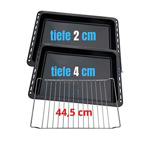 445 x 375 x 20 mm und 40mm 3er SET mit 2 Backbleche 2 Tiefe emailliert und 1 Backrost 445x340x25 mm passend für Bauknecht Whirlpool Ignis Ikea auch Neckermann...