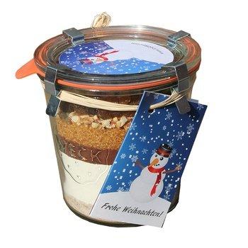 Kuchen Backmischung - Winterapfel'Frohe Weihnachten' Schneemann