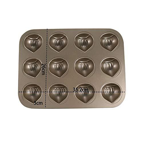 QIEZI Mini-Donut-Pfannen, Antihaft-6/12-Hohlraum-Donut-Backform, Kastanien-Form-Kuchen-Backform, Kohlenstoff-Stahl-Donut-Form - BPA-freie...