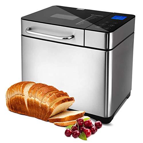 Brotbackautomat 710W Backmeister mit Automatische Zutatenbox, 19 Programme, Edelstahl Bread Maker Vollautomatische mit 15 Stunden Timing-Funktion,...