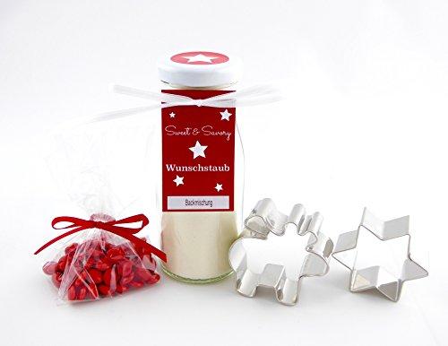 Geschenkset Elch, Backmischung für Elch-Butterplätzchen im Glas mit Plätzchen Ausstechform - ideal als Geschenk zu Weihnachten, Nikolaus, Wichtel etc.