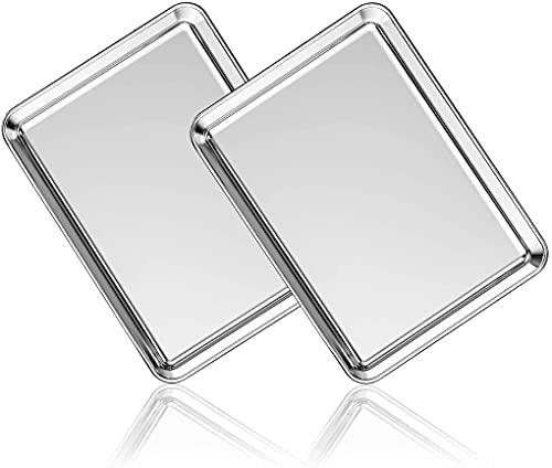 Backblech Backblech 2er-Set, AIKKIL Backblech aus Edelstahl Professionell, ungiftig und gesund, spiegelglatt und rostfrei, leicht zu reinigen und...