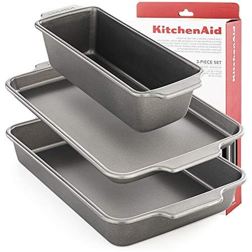 Kitchenaid Backbleche Set 3 Stück Brat - Backform Antihaftbeschicht Stahl Back-meister Backform Backblech Ausziehbar Rechteckig Springform 18cm Klein 18 Cm...