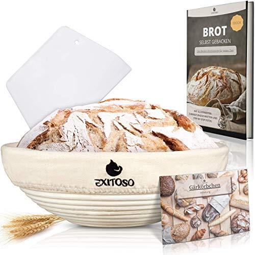 Exitoso® Gärkörbchen rund (Ø 25 cm) mit E-Book Rezept und Anleitung - Der Peddigrohr Gärkorb für 1 Kg Teig - Banneton Brotbackform mit Leinentuch +...