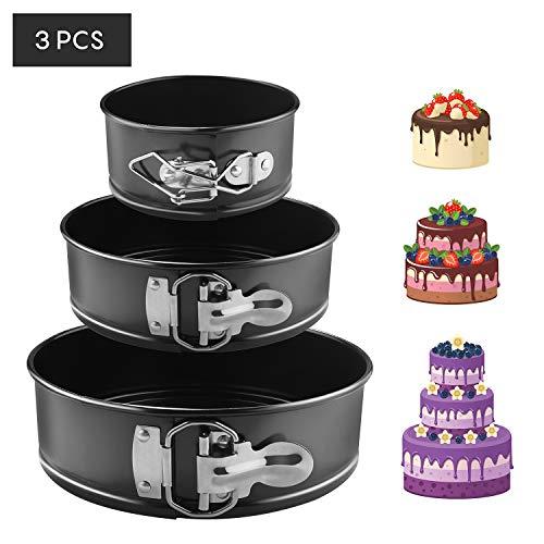 EKKONG Kuchenform Rund Inspiration Springform Cake Pans Runde Backform mit Flachboden Kuchenformen auslaufsicher, antihaftbeschichtet, 3 Größen Enthält...