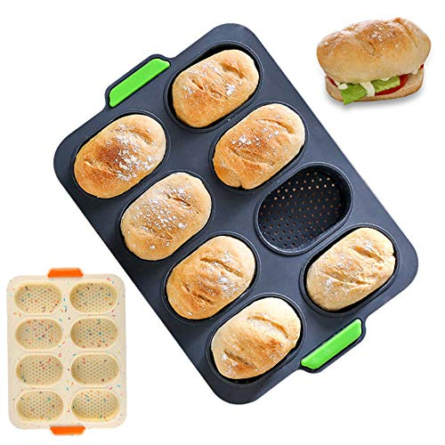 CHAWHO Mini-Baguette-Backblech,Silikon Antihaft-Lochblech Laib Backform Brot Crisping Tray French-Bread 34x24cm 1#
