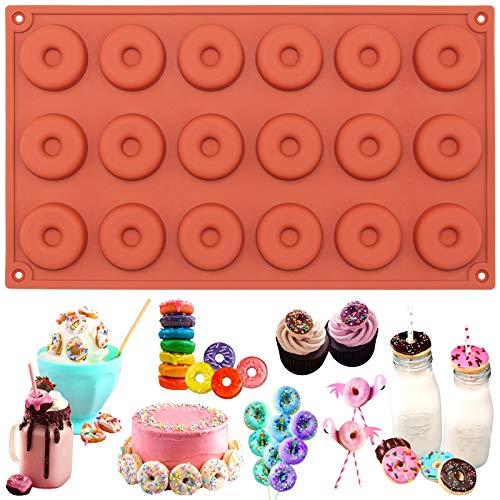 18er-Silikon-Form zum Backen und Basteln, Mini-Donuts, für Kuchen, Cookies, Schokolade, Fimo-Knete, Seife, 29x17x1cm
