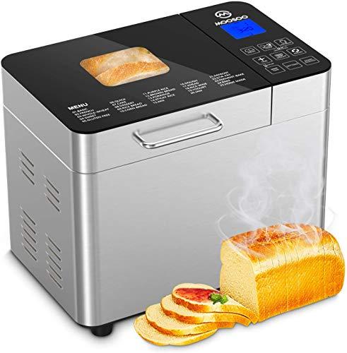 MooSoo Brotbackautomat mit 25 Backprogramme, 3 Backfarben und 3 Brotgrößen, ca. 2L, mit Wärmehaltung, Ganzglasoberfläche, Multifunktionaler Brotbackautomat...