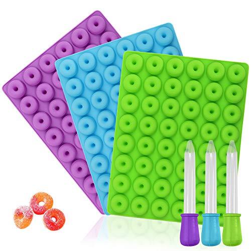 YuCool Mini-Donut-Silikonform, Antihaftbeschichtung, lebensmittelechtes Silikon, für Süßigkeiten, Schokolade, Gelee, Eiswürfel, mit 3 Pipetten, Blau, Grün,...
