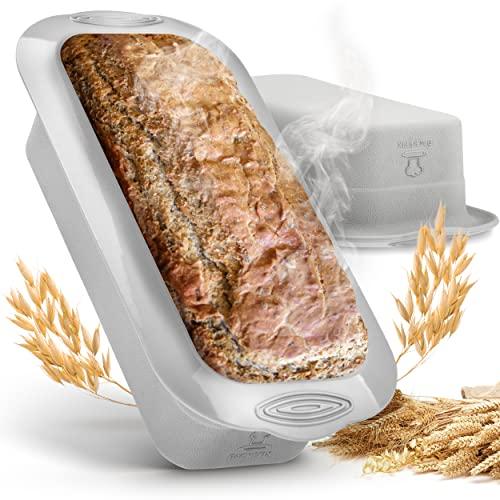 Backefix Silikon Brotbackform – Kastenform für 750g Brote, antihaftend & Flexible Brotform, grau 23cm