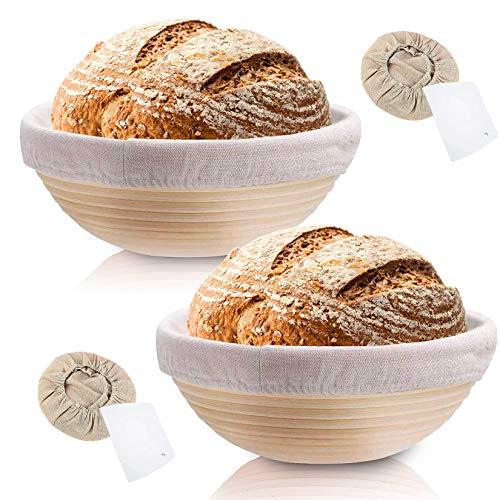 Rishaw Gärkörbchen Rund, ø 25 cm, Höhe 8.5 cm mit Leineneinlage und Teigkarte, Gärkorb Set für Hausgemachtes Brot fasst 1000g Teig - Aus Natürlichem...