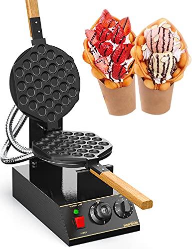 WantJoin Bubble Waffeleisen Waffle Maker Elektrische Waffelmaschine Waffelgerät Edelstahl Ei Waffeleisen 180° Drehbare Elektrische 1400W 30pcs (Schwarz...