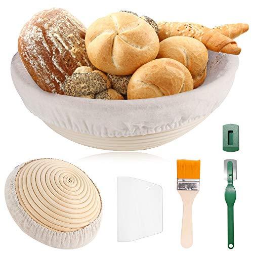 TOOP Gärkorb Gärkörbchen Brot Proofing Körbe 25cm Rund Brotkörbchen Für 1kg Brotteig für Gerkörbe Set aus natürlichem Peddigrohr mit Leinen-Liner-Tuch...