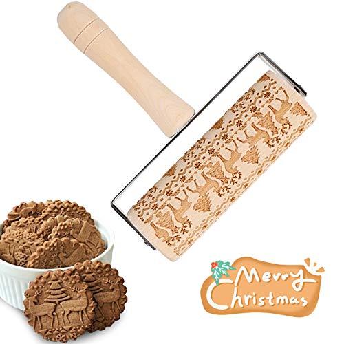LIHAO Teigroller Elch Nudelholz Weihnachten Prägerolle Holz Prägung für Fondant Kuchen Teig Keks Backen Dekoration (MEHRWEG)