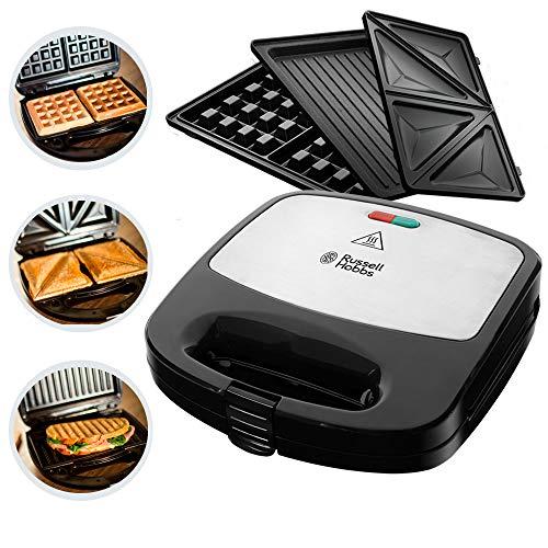Russell Hobbs Multifunktionsgerät 3-in-1 Fiesta (Sandwich Maker, Waffeleisen, Kontaktgrill), spülmaschinengeeignete & antihaftbeschichtete Platten...