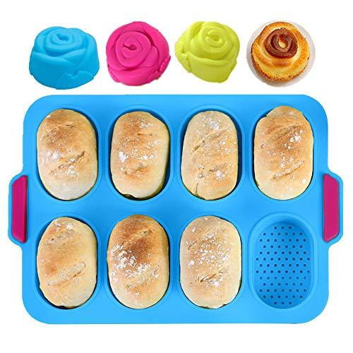 KeepingcooX® Mini-Baguette-Backblech, 34 x 24 cm, Antihaft-Lochblech | Brot Crisping Tray, Laib Backform, French-Bread mit köstlichen knusprigen Krusten, mit...