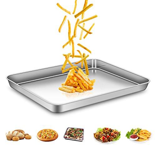 AEMIAO Edelstahl Backblech Antihaft Kuchenblech Tief Ofenblech Profi Pfanne Tablett für die Küche zu Hause, Gesund, Superior Spiegel Oberfläche &...