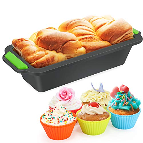 Fostoy Brotbackform,Große Silikon Backform +10Pcs Muffin Cupcake, Antihaftende Rechteck Backform für Kuchen und Brote Set Antihaft & Leicht zu Reinigen um...