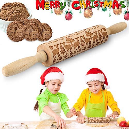 VZATT Motiv Nudelholz, Weihnachten Teigroller, Weihnachten Präge Nudelholz, 3D Holz Nudelholz mit Weihnachtsbaum Hirsch Schneeflocke Symbole, Teigrolle Muster...