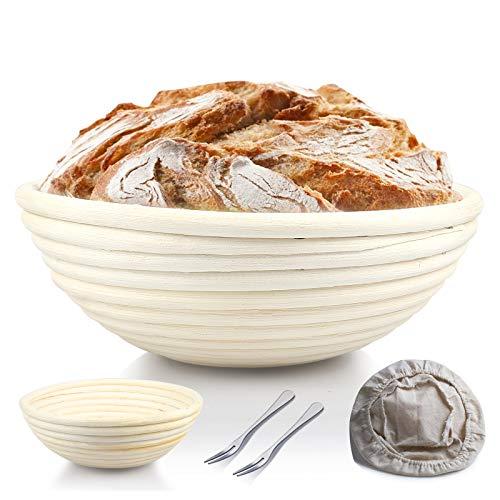 WUPIN Gärkörbchen rund brotbackform, ø 25 cmGärkörbchen, Höhe 8.5 cm Banneton Proof Korb für Brot und Teig Proof Rising Rattan Schale(1000g Teig) +...