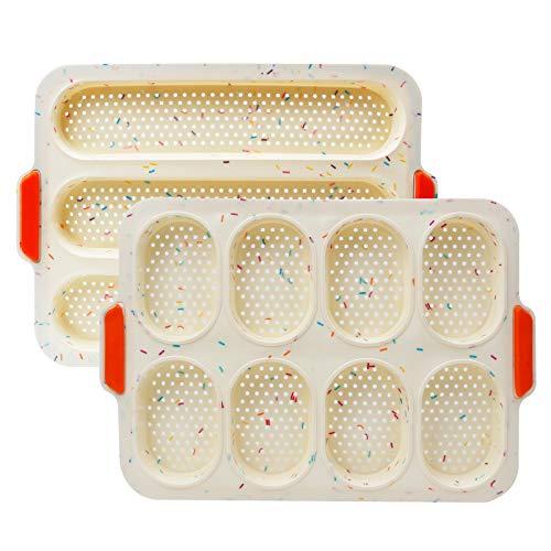 RAIN QUEEN Baguette Backform Mini Brötchen Backform Silikon Baguette Backblech Perfekt Backt French Bread Breadstick und Brötchen mit Köstlichen Knusprigen...
