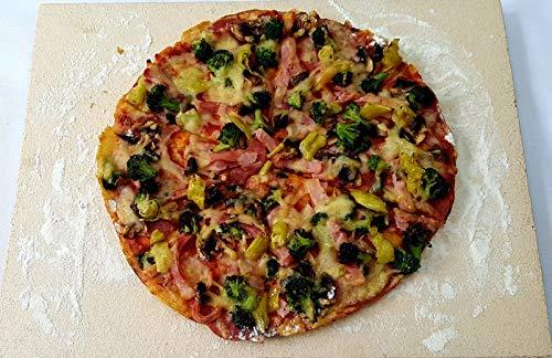 hs-kamine Pizzastein Brotbackstein Flammkuchenstein Massive Schamotte Lebensmittelecht 40 x 30 x 2,5 cm für Backofen Ofen Herd Grill für Pizza Brot...